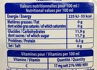 Velours 100 % pur jus & Fruits mixés Cocktail Délices - Informations nutritionnelles - fr