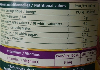 Le Fruit Multifruit - Informations nutritionnelles