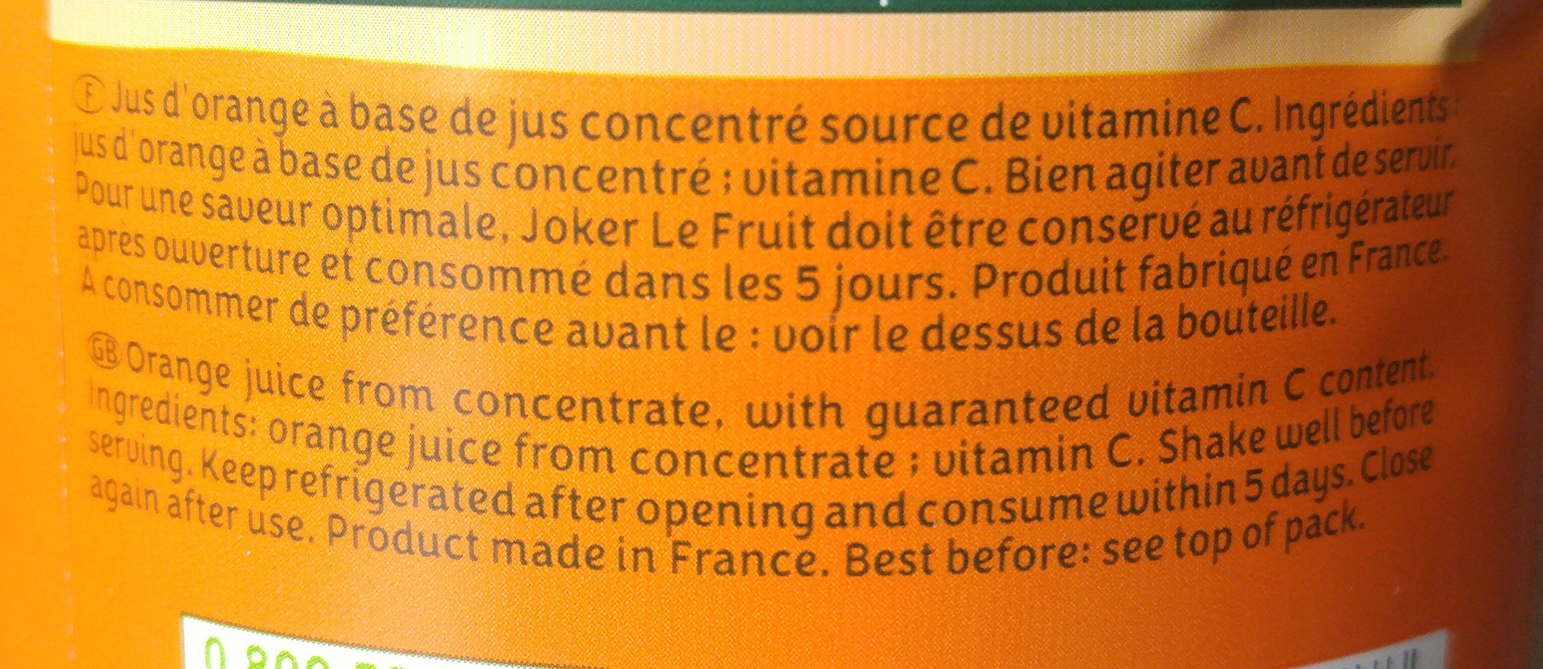 Le Fruit - Orange sans pulpe - Ingredients - fr