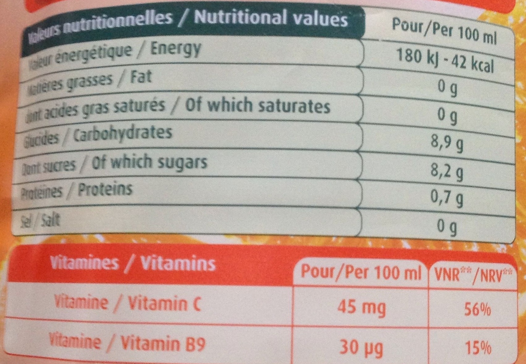 Le Fruit - Orange sans pulpe - Nutrition facts - fr
