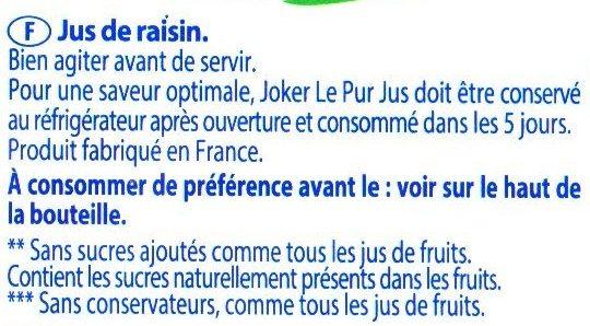 Le Pur Jus 100% Raisin - Ingrédients - fr