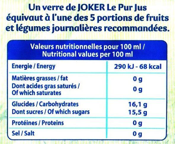 Le Pur Jus 100% Raisin - Informations nutritionnelles - fr
