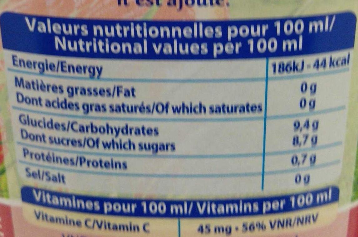Le Pur Jus Duo jus d'orange et orange sanguine pressées - Nutrition facts - fr