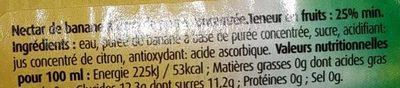 Nectar de Banane - Ingrédients