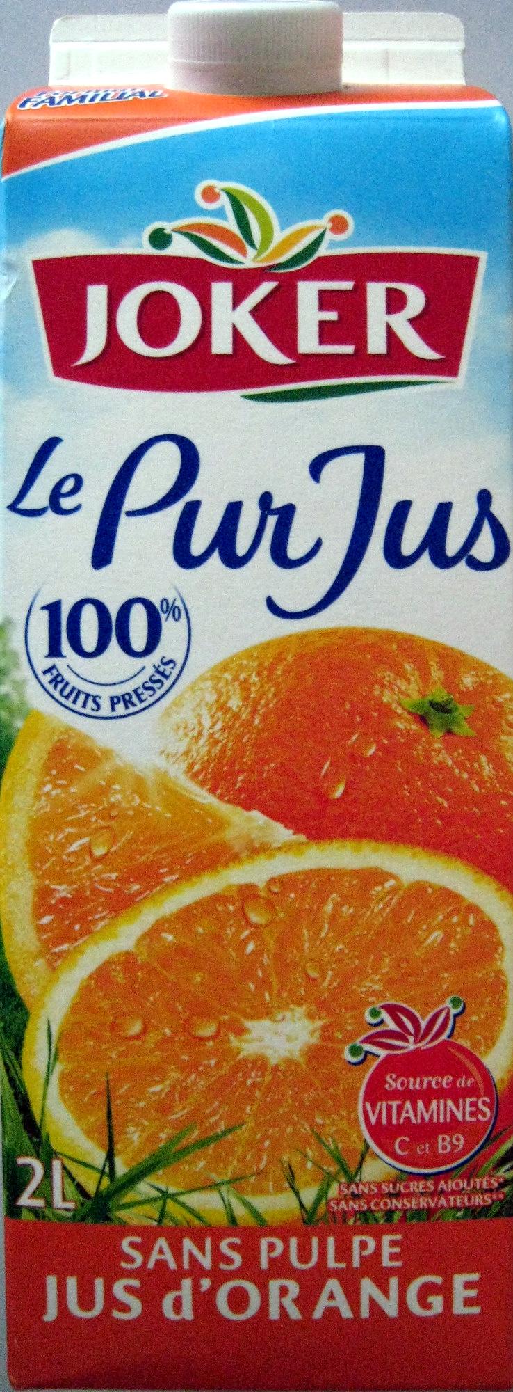 Pur jus de fruit d'orange sans pulpe Joker - Product - fr