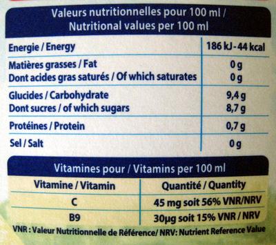 Pur jus de fruit d'orange sans pulpe Joker - Informations nutritionnelles