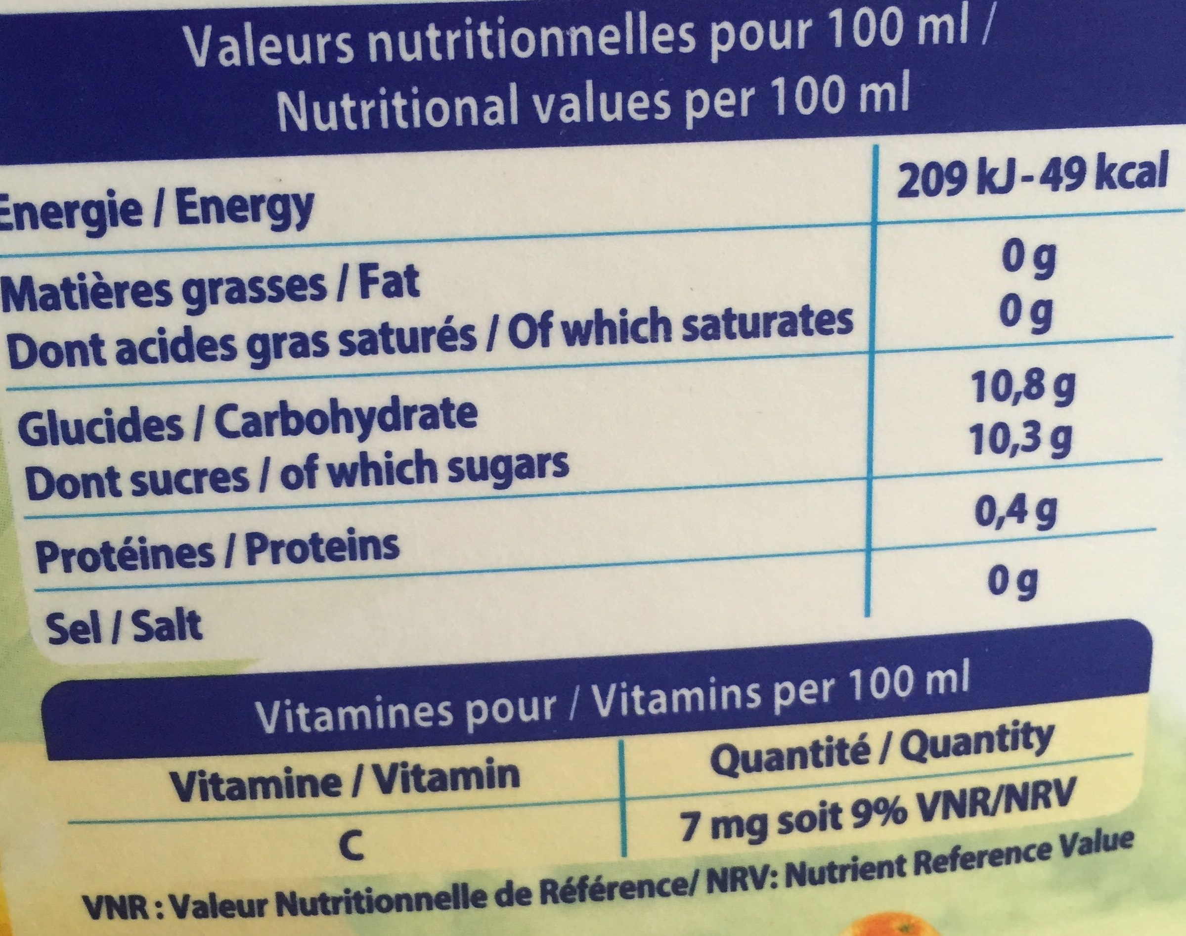 Le Pur jus Multifruit - Nutrition facts