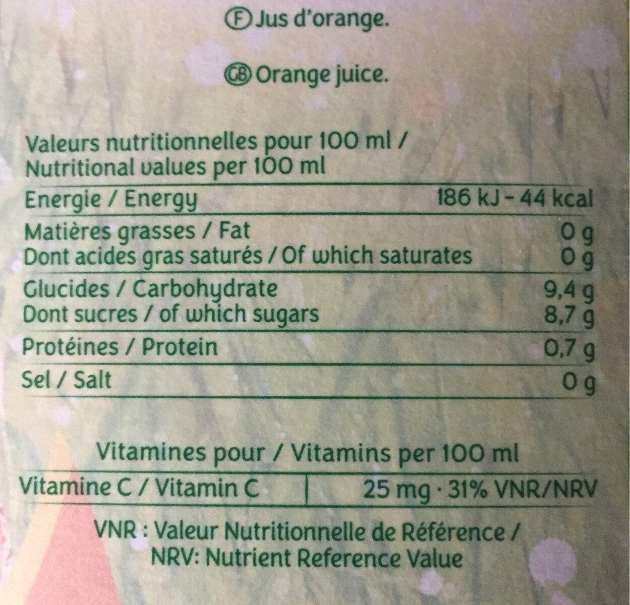 PUR JUS Orange sans pulpe - Voedingswaarden - fr