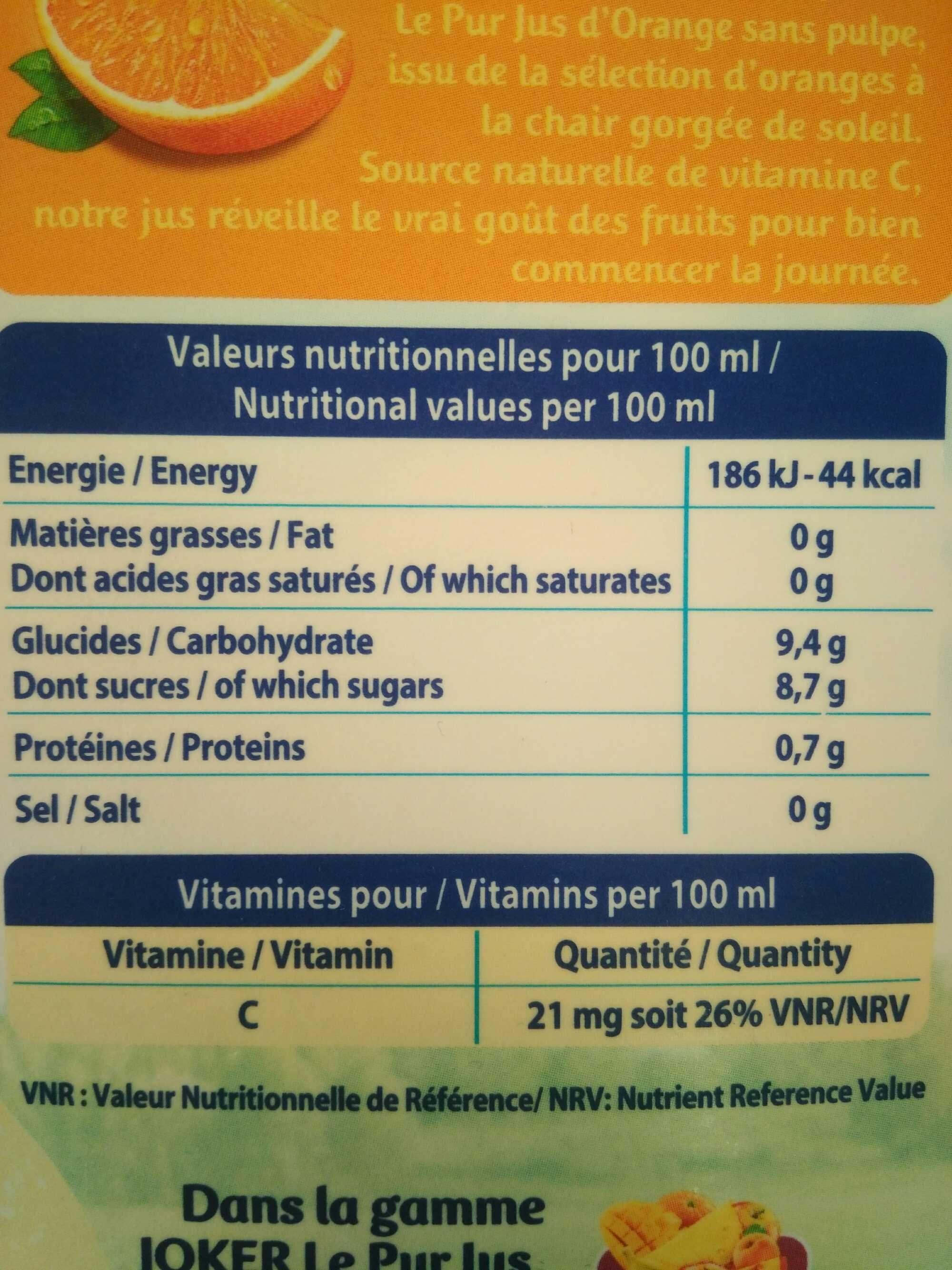 jus d'orange sans pulpe - Voedingswaarden