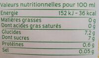 Jus multi fruits trio d'agrumes - Informations nutritionnelles
