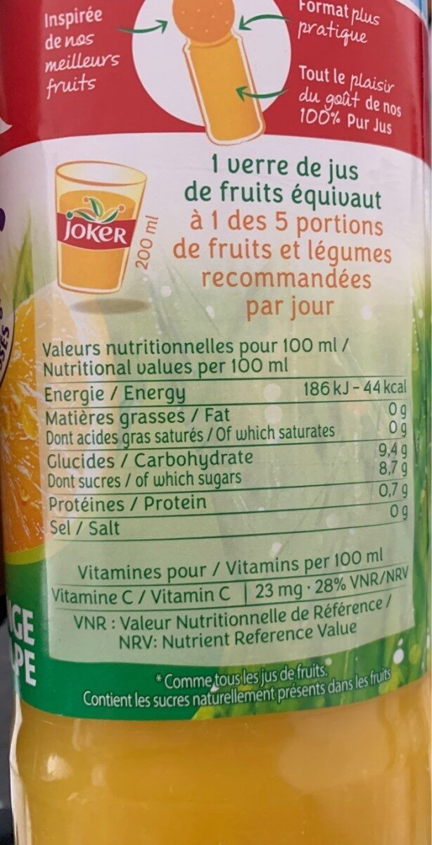 Pur jus - Informations nutritionnelles - fr