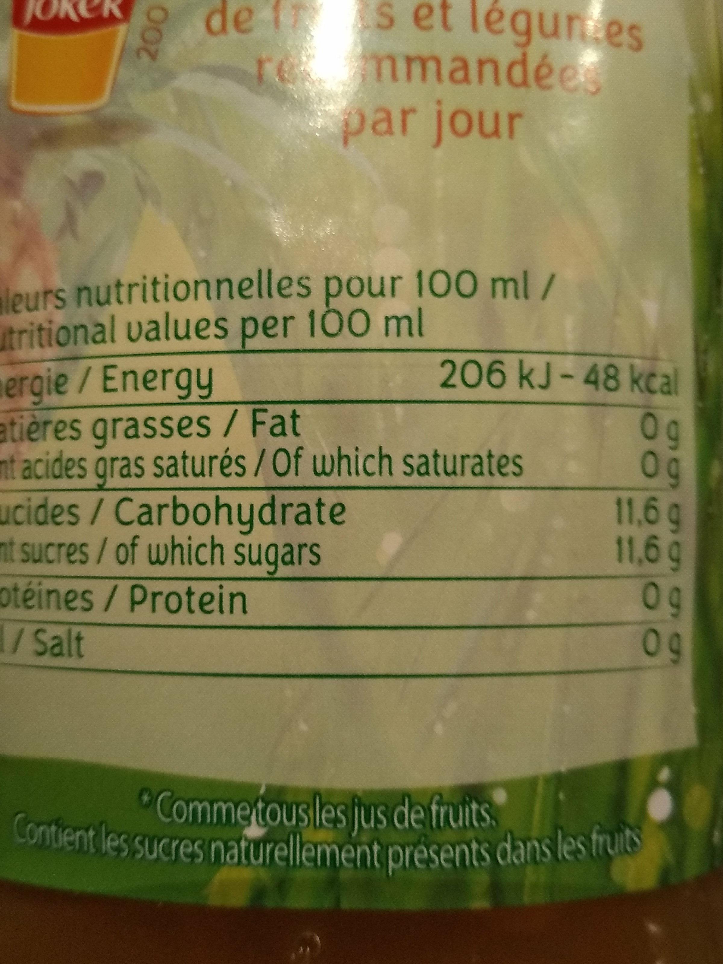 Jus d'ananas - Voedingswaarden