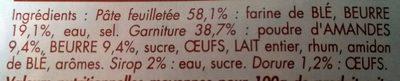 Galette des Rois Pur Beurre Frangipane - Ingredientes