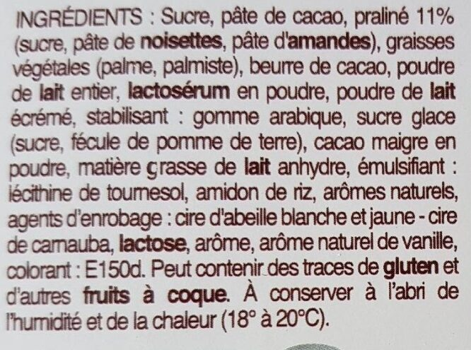 OEUFS DE CAILLE FOURRÉS PRALINE - Ingredients - fr