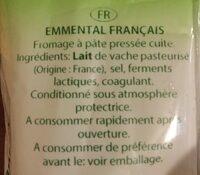Emmental Français - Ingrédients