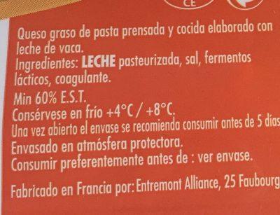 Emmental Francés - Ingredients