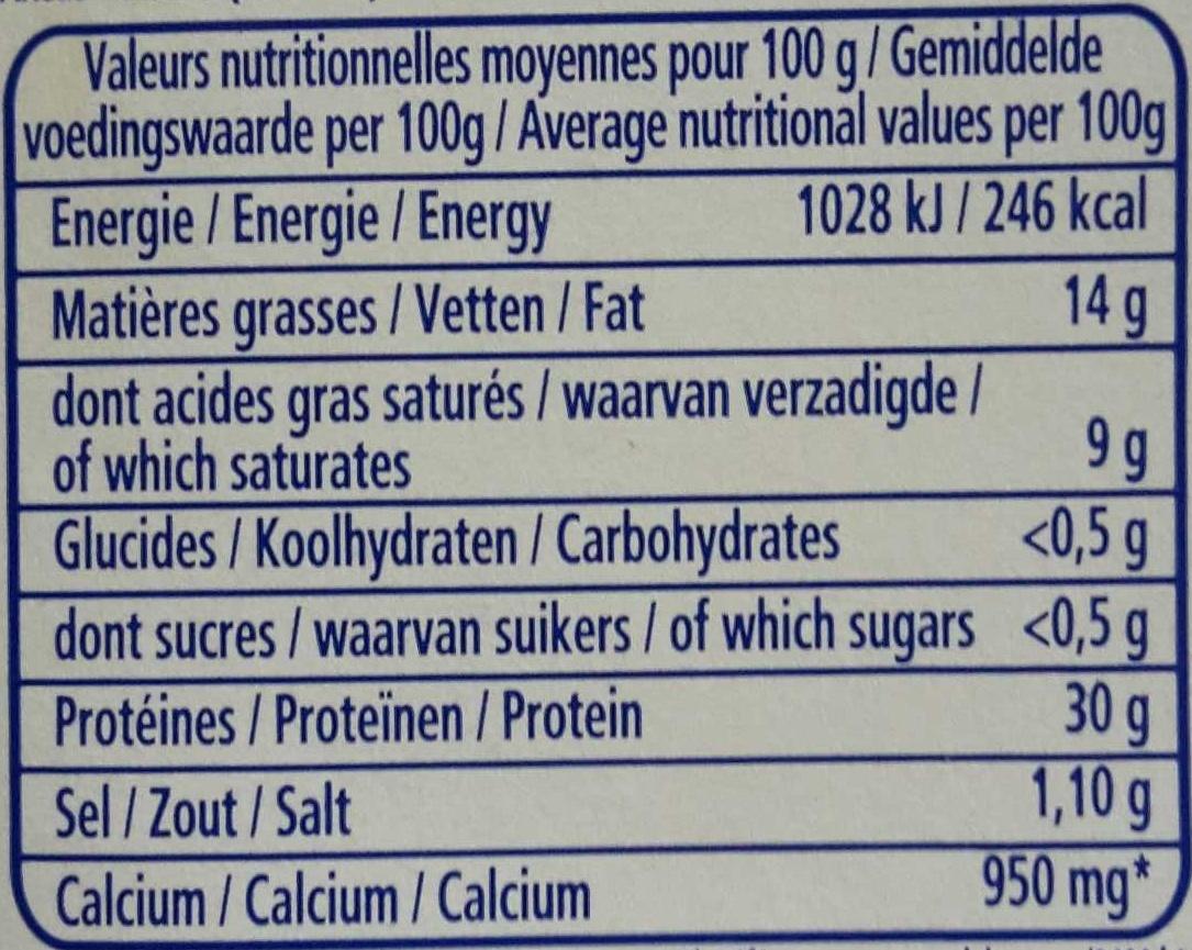 Light (4%MG) - Voedingswaarden - fr
