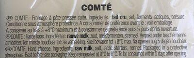 Comte - Ingrédients - fr