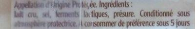 Terroirs du Comté AOP (Fruité du Haut Doubs) - 200 g - EntreMont - Ingrédients - fr