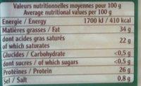 Terroirs du Comté AOP (Fruité du Haut Doubs) - 200 g - EntreMont - Informations nutritionnelles - fr
