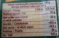 Comte caractere - Valori nutrizionali - fr