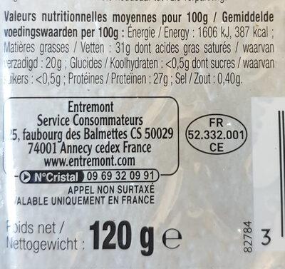 Emmental francais - Nutrition facts - fr
