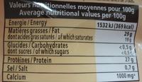 Emmental - Voedingswaarden - fr