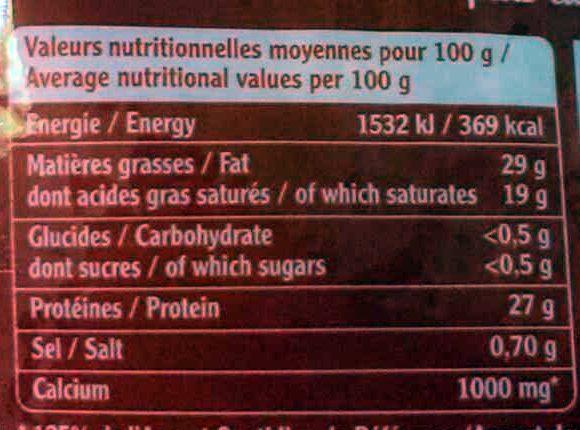 L'Emmental Français Extra fin - Nutrition facts - fr
