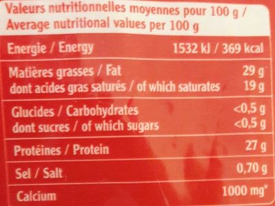L'emmental français - Nutrition facts