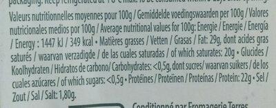 Raclette (30% MG) Saveur d'Antan au lait entier - 350 g - EntreMont - Voedingswaarden - fr