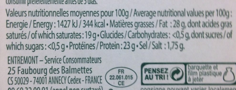 Fromage Pour Raclette - Nutrition facts