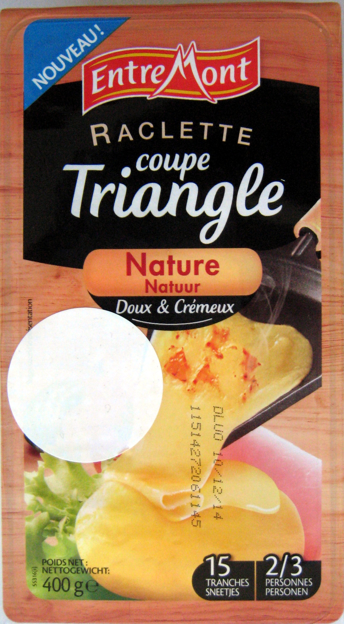 Raclette coupe triangle nature entremont 400 g - Coupe fromage a raclette ...