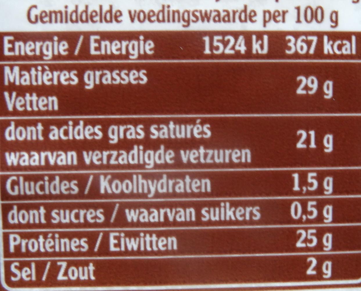Cantal, entre-deux (150j mini) - Nutrition facts