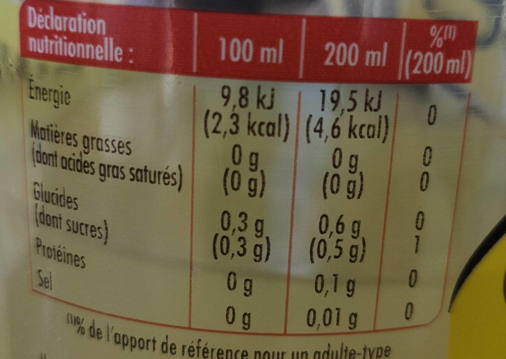 Schweppes Zero Agrum' - Voedingswaarden - fr