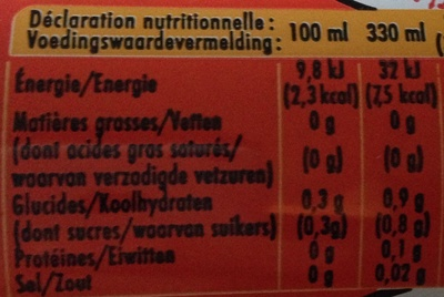 Schweppes Agrum' Zero - Nutrition facts - fr