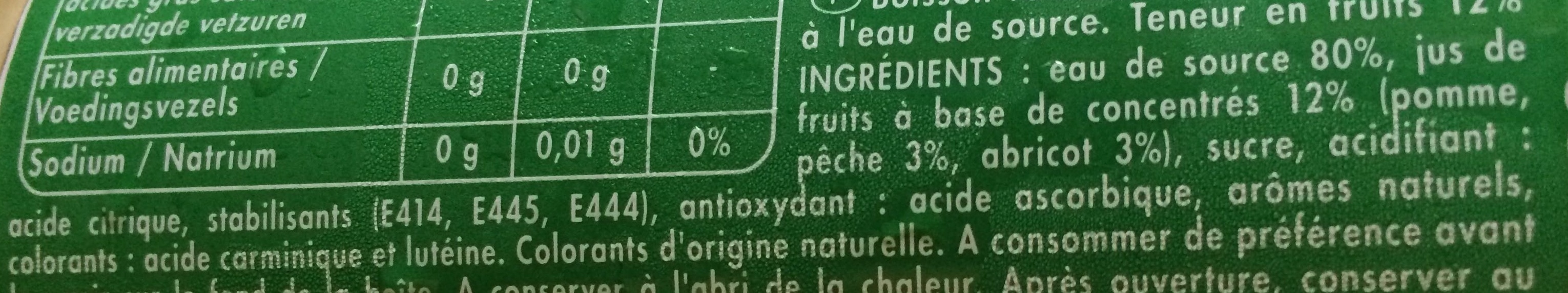 Pêche Abricot - Ingredients