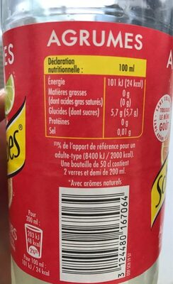Schweppes Agrum' - Nutrition facts - fr