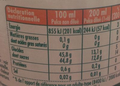 Pulco Tropical - Informations nutritionnelles