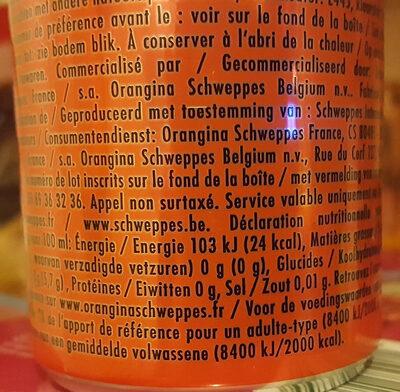 Schweppes Agrum' - Informations nutritionnelles