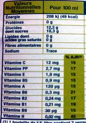 Nectar multi-fruits - Nutrition facts - fr
