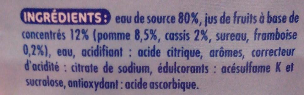 Oasis zéro Pomme cassis framboise - Ingrédients - fr