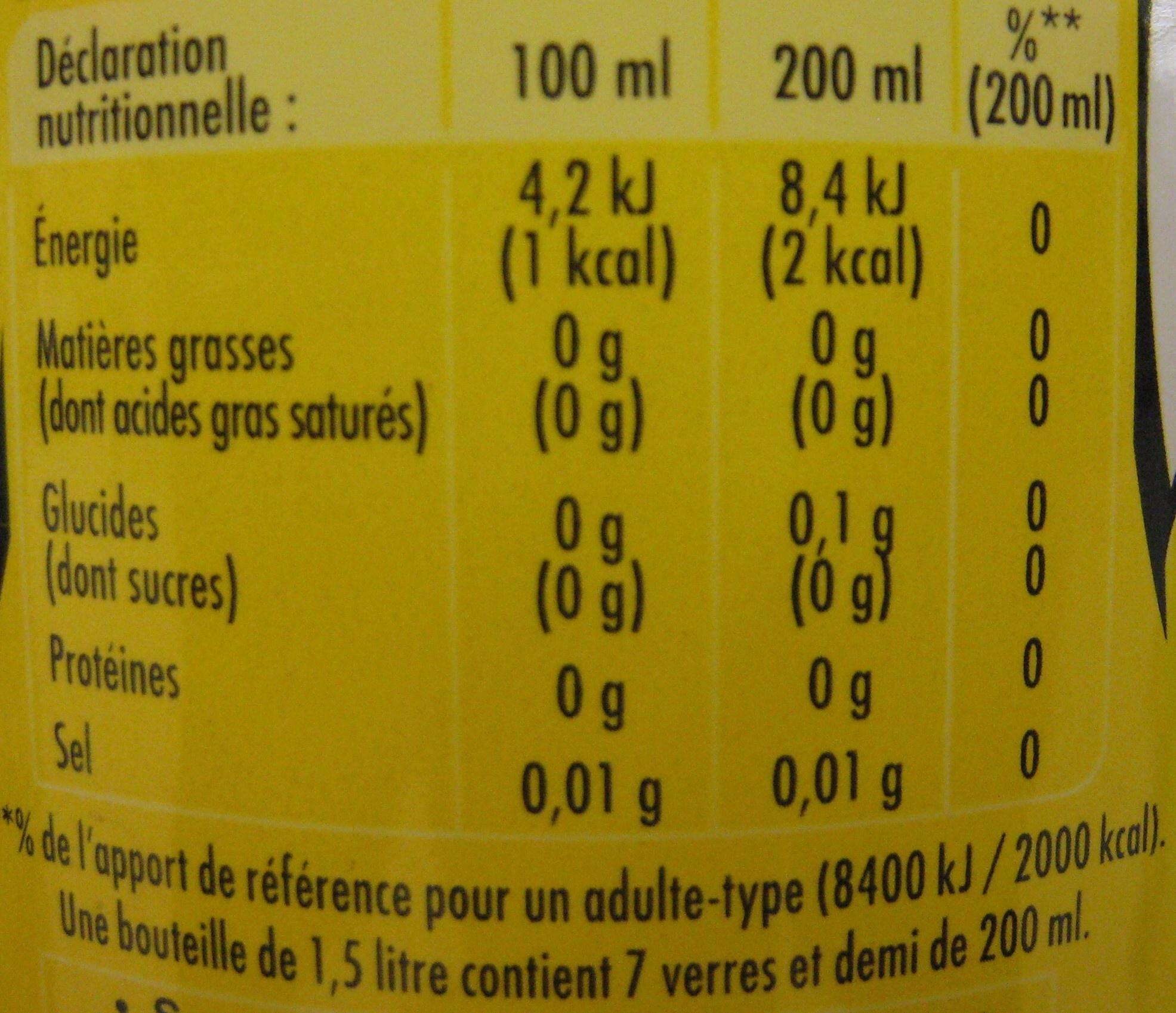 Schweppes Zero Ananas - Voedigswaarden
