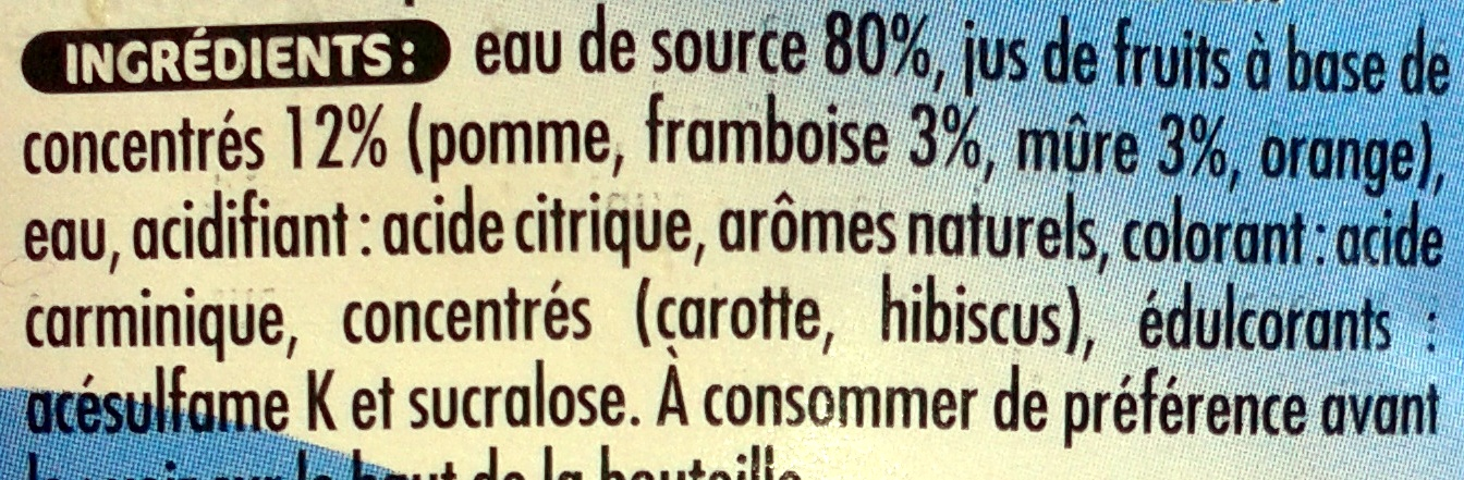 Oasis Mûre Framboise - Inhaltsstoffe - fr