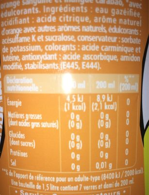 Schweppes Zero Exotic - Nutrition facts - fr