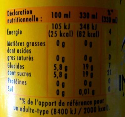 Indian Tonic - Valori nutrizionali - fr