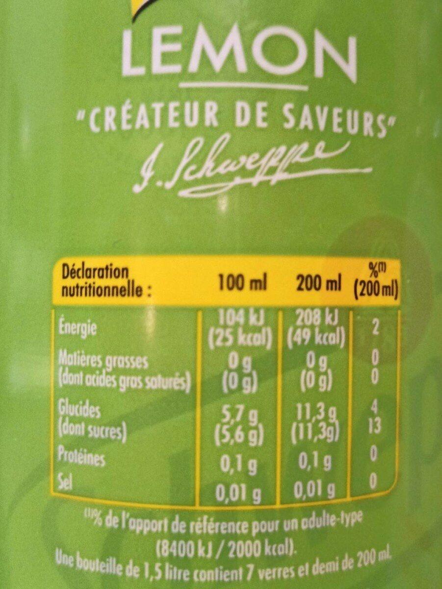 Lemon Schweppes - Informations nutritionnelles - fr