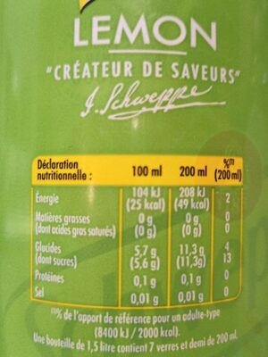 Lemon Schweppes - Informations nutritionnelles