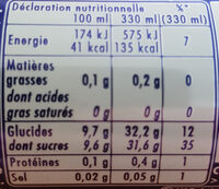 Orangina et sa pulpe - Nutrition facts - fr