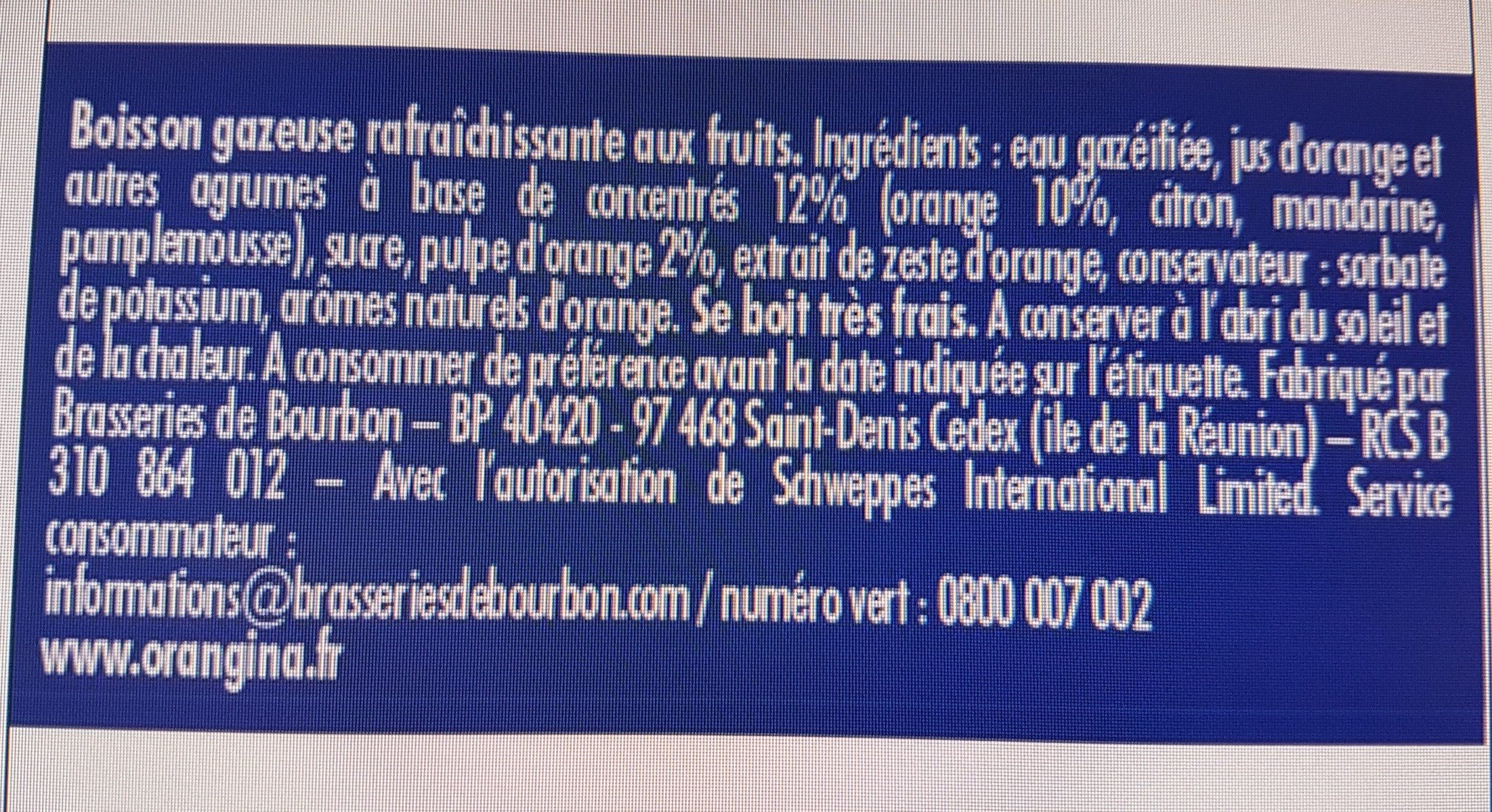 Orangina - Ingredients