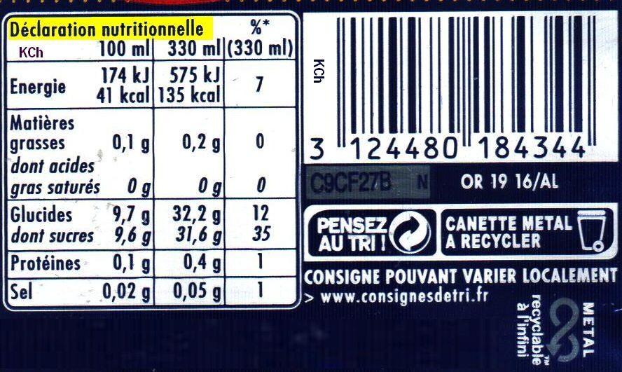 Orangina Édition Limitée Rugby - Informations nutritionnelles